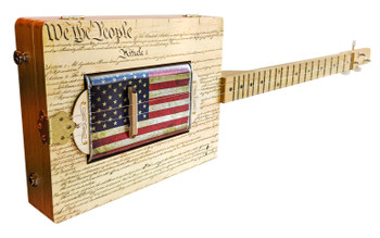 """Patriot's Pride"" Canned Heat 3-string Resonator Cigar Box Guitar"