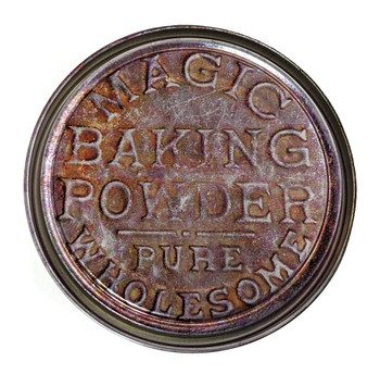 Magic Baking Powder Tin Illustrated 5-inch Paint Can Lid - Cigar Box Guitar Resonator