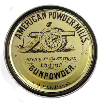 American Powder Mills Illustrated 5-inch Paint Can Lid - Cigar Box Guitar Resonator