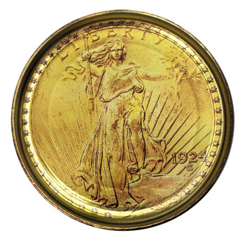 Gold Double Eagle $20 Coin Illustrated 5-inch Paint Can Lid - Cigar Box Guitar Resonator