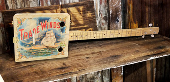"""Trade Winds"" 3-string Illustrated Cigar Box Guitar - Vintage Cigar Art Series"