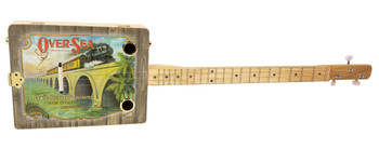 """Over-Sea"" Railroad 3-string Illustrated Cigar Box Guitar - Vintage Cigar Art Series"