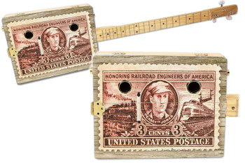 """Casey Jones"" Railroad Stamp 3-string Illustrated Cigar Box Guitar"