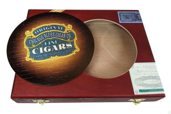 """Chicago Blues Cigar Co."" ResoDisk Box Topper for Cigar Box Guitars"