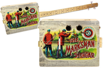 """The Marksman"" 3-string Illustrated Cigar Box Guitar - Vintage Cigar Art Series"