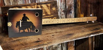 """Sunset Cowboy"" 3-string Illustrated Cigar Box Guitar - Featuring an Original Western-themed Design!"