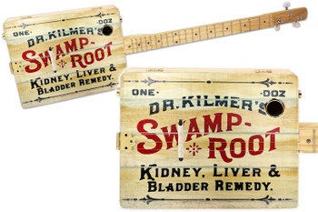 """Swamp Root"" 3-string Illustrated Cigar Box Guitar - Featuring a Vintage Patent Medicine Design!"