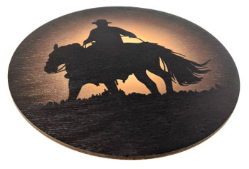 """Sunset Cowboy"" ResoDisk Box Topper for Cigar Box Guitars"