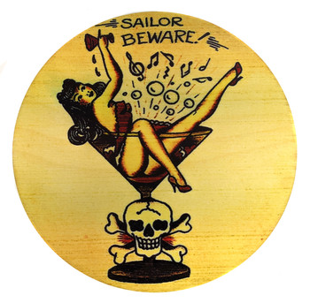 """Sailor Beware"" ResoDisk Box Topper for Cigar Box Guitars"