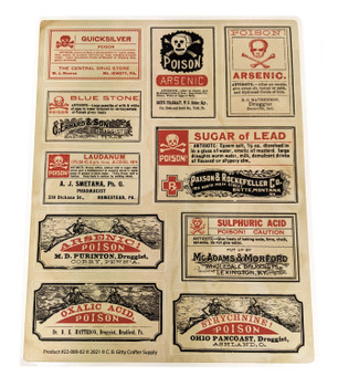 Poison Apothecary Label Decal Sheet (#1) - 10 Vintage Poison Labels for Craft Use