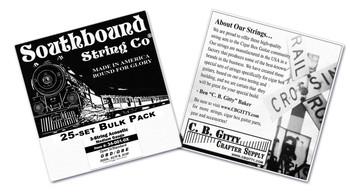 25-count BULK PACK 3-String Cigar Box Guitar Strings - Open G Major/Standard Guitar Tuning - Acoustic Medium