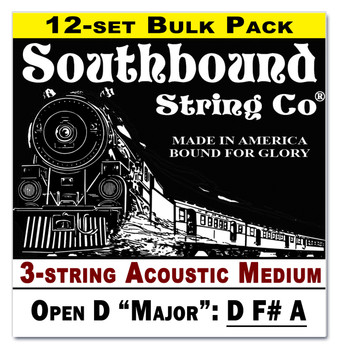 12-pack 3-string Cigar Box Guitar Strings - Open D Major Tuning - Acoustic Medium