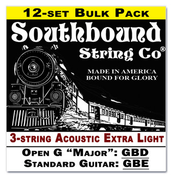 12-pack 3-string Cigar Box Guitar Strings - Open G Major/Standard Guitar Tuning - Acoustic Extra Light