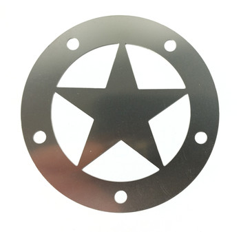 "Cigar Box Guitar Soundhole Cover - Stainless Steel ""Lone Star"" Design"