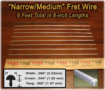 Narrow/Medium Nickel-Silver Fret Wire (6 ft)