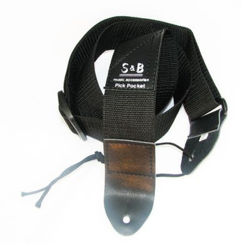 Black Nylon Guitar/Cigar Box Guitar Strap with Pick Pocket