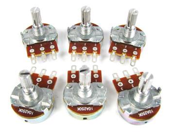 6-pack 250K Bourns Audio-Taper Potentiometer