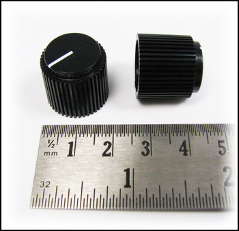 8-pack Black Ribbed Knobs with White Lines