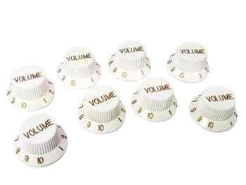 8-pack White Stratocaster-style Volume Knobs