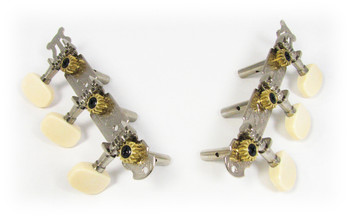 Chrome Classical Guitar-style (3-on-a-plate) 3L/3R Tuners/Machine Heads - CENTER HOLE SHAFTS