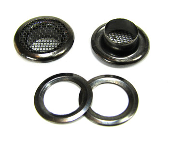 12pc. 15mm Black Screened Grommets