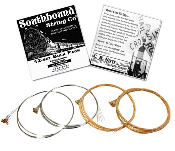 12-pack 4-string Cigar Box Guitar Strings - Open G Major/Standard Guitar Tuning - Acoustic Medium