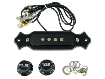 Pre-Wired 4-String Single Coil Pickup Harness with Volume and Tone - Perfect for Cigar Box Guitars