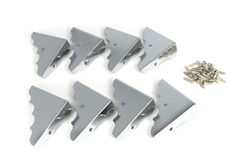 8pc. Decorative Chrome Box Corners with Screws