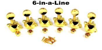 Gold Enclosed-Gear Guitar Tuners/Machine Heads - 6pc. Inline Right-aligned