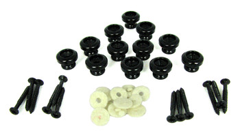 12pc. Black Strap Buttons with Screws