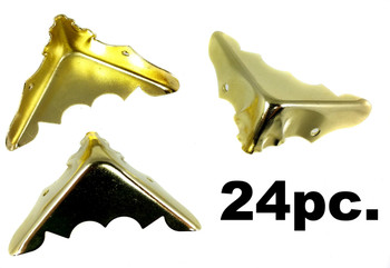24-pack Shiny Brass Box Corners with Screws (Crimped Back)