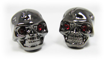 Voodoo Skull Knobs - One pair -  Darkened Chrome w/ jewel eyes