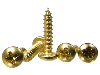 "100pc. #4 x 1/2"" Brass-plated Round Phillips-Head Screws"