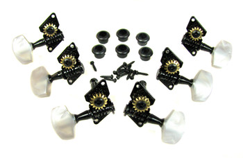 Black Open-Gear Guitar Tuners/Machine Heads - 6pc. 3 left / 3 right