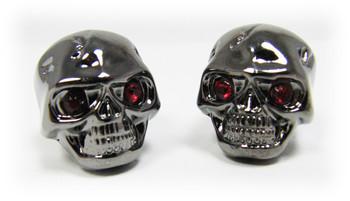 Voodoo Skull Knobs - Set of 8 -  Darkened Chrome w/ jewel eyes
