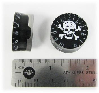 """Outlaw Skull Speed Knobs - Matching Pair - White Skull """"13"""" on Black"""