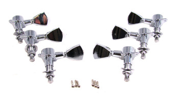 Chrome Tombstone-style Sealed-Gear Guitar Tuners/Machine Heads - 6pc. 3 left / 3 right