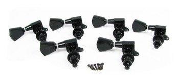 Black Tombstone-style Sealed-Gear Guitar Tuners/Machine Heads - 6pc. Inline Right-aligned