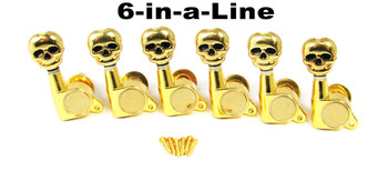 Gold Skull Sealed-Gear Guitar Tuners/Machine Heads - 6pc. 6-in-a-line Right
