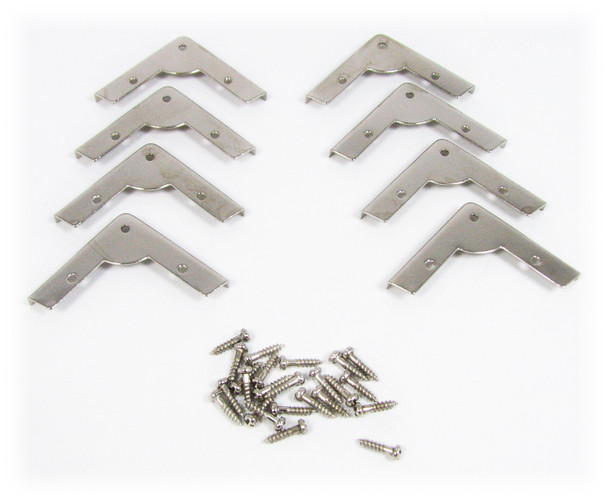 8pc. Low-Profile Nickel-Plated Box Corners