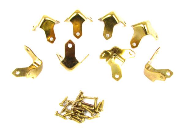 8pc. Small Brass Trunk Corners with Screws