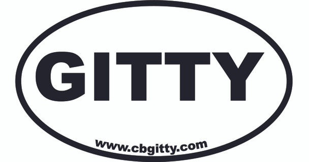 12-pack 3 x 5-inch Vinyl GITTY Oval Bumper Sticker