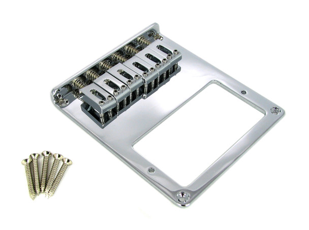Telecaster-Style Bottom-Loading Chrome Electric Guitar Bridge Plate for Humbuckers