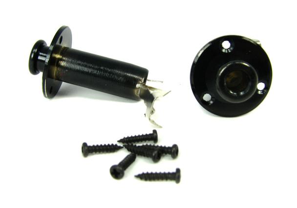 1pc. Black Screw-Mount Stereo Endpin/Strap Button Jack w/screws