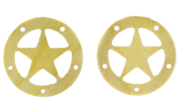"""2pc. 2.5"""" Wooden Sound Hole Covers - Birch Lone Star"""