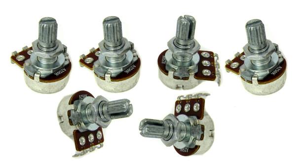 6pc. Standard Short-Shaft 250KOhm Pots