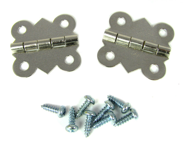 2pc. Nickel-Plated Butterfly Hinges