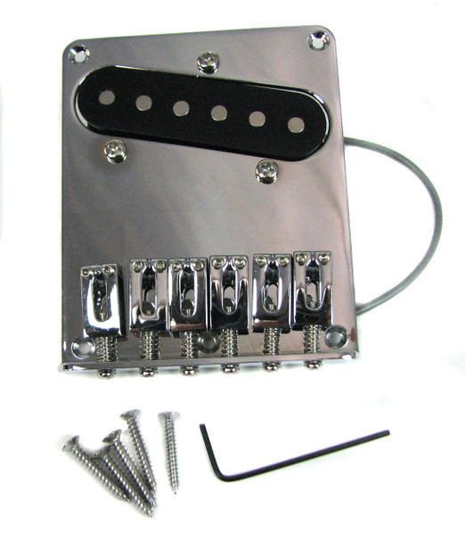 Chrome Telecaster-style Bridge Plate with Single-Coil Pickup Pre-installed