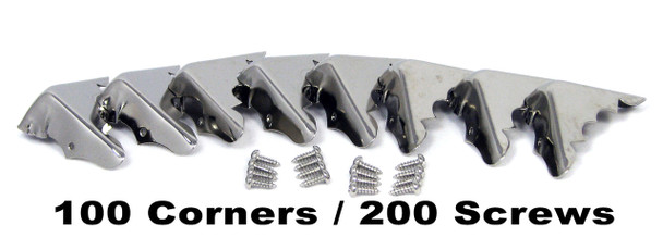 100pc. Bulk-pack Shiny Nickel Box Corners with Screws