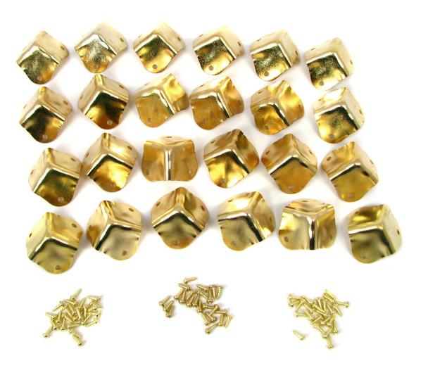 24pc. Square Brass-plated Box Corners